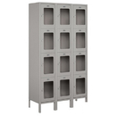 Salsbury Industries S-54365GY-A Extra Wide See-Through Metal Locker - Four Tier - 3 Wide - 6 Feet High - 15 Inches Deep - Gray - Assembled
