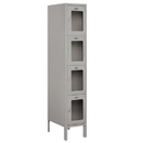 Salsbury Industries S-64158GY-A See-Through Metal Locker - Four Tier - 1 Wide - 5 Feet High - 18 Inches Deep - Gray - Assembled