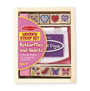 Melissa & Doug 2415 Wooden Stamp Set - Butterflies and Hearts
