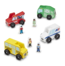 Melissa & Doug 5184 Classic Wooden Toy Community Vehicle Set