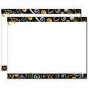 Gold & Silver Swirls Trifold Brochure, Blank Parchment Post Card, 65lb Cover