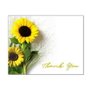 Sunflower Thank You Note Card, Blank Parchment Post Card, 65lb Cover