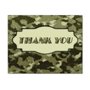 Camouflage Thank You Card, Blank Parchment Post Card, 65lb Cover