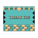 Art Deco Thank You Card, Blank Parchment Post Card, 65lb Cover