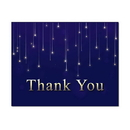 Falling Stars Thank You Card, Blank Parchment Post Card, 65lb Cover