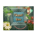 Lily Pond Thank You Card, Blank Parchment Post Card, 65lb Cover