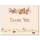 Angel Bells Thank You Card, Blank Parchment Post Card, 65lb Cover