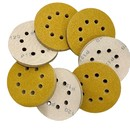 Muka 100 Pcs 5-Inch 8-Hole Grits Gold Sanding Disc Sander Round Sandpaper for Woodworking or Automotive