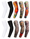 TOPTIE 10pcs Temporary Tattoo Sleeves, UV Protection Basketball Shooter Sleeves Arm Warmer