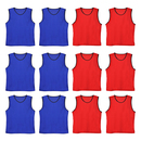 TopTie Nylon Mesh Scrimmage Team Practice Vests Pinnies Jerseys for Basketball, Soccer, Football, Volleyball (12 Jerseys)