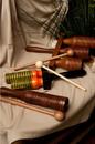 DOBANI AGDG DOBANI Wooden Double Bell Agogo w/ Mallet - 9.5 x 3.3-inch- Green & Orange