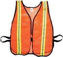 Mutual Industries 16300-153-1500 Orange Soft Mesh Safety Vest - 1-1/2&Quot; Lime/Silver/Lime Reflective
