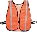 Mutual Industries 16300-53-1000 Orange Soft Mesh Safety Vest - 1&Quot; Silver Reflective
