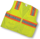 Mutual Industries Ansi Class 2 Lime Surveyor Vest With Pouch Pockets