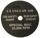 S & G TOOL AID 94870 Cut-Off Whls 3X1/16X3/8 (50/Bx)