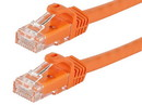 Monoprice 11299 Flexboot Cat5e Ethernet Patch Cable - Snagless RJ45, Stranded, 350Mhz, UTP, Pure Bare Copper Wire, 24AWG, 2ft, Orange
