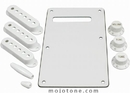 Strat Accessory Kit White W/3 Ply Backplate
