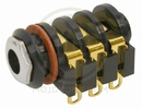 Gold Plated 3-Conductor Jack 6-Solder Lugs W/ Chrome Nut