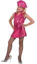 Funny Fashion FF-782749LG Disco Dress Child Hot Pk Lg