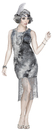 Morris Costumes FW-124604ML Ghostly Flapper Ad Med/Lrg