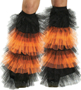 Fun World FW-90215OR Boot Covers Tulle Ruffle Bk Or