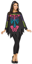 Morris Costumes FW-90355C Poncho Skeleton Color Ad One S