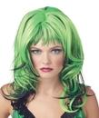 Morris Costumes MR-177016 Wig Hard Rockin Witch Bk Green