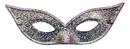 Morris Costumes TI-06SV Harlequin Mask Lame Silver