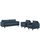 Modway Furniture EEI-1314 Empress Sofa and Armchairs Set of 3