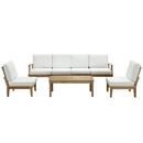Modway Furniture EEI-1481 Marina 7 Piece Outdoor Patio Teak Sofa Set