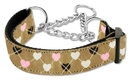 Mirage Pet Products 125-017M MDTN Argyle Hearts Nylon Ribbon Collar Martingale Tan Medium