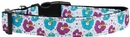 Mirage Pet Products 125-186 SM Blue and Purple Hibiscus Flower Nylon Dog Collar SM