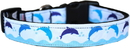 Mirage Pet Products 125-273 SM Blue Dolphins Nylon Dog Collar SM