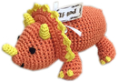 Mirage Pet Products 500-111 BOP Knit Knacks Bop the Triceratops Organic Cotton Small Dog Toy