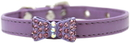 Mirage Pet Products 506-1 LV14 Bow-dacious Crystal Dog Collar Lavender Size 14