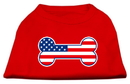 Mirage Pet Products 51-08 XSRD Bone Shaped American Flag Screen Print Shirts Red XS