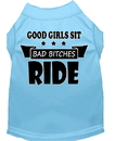 Mirage Pet Products 51-182 BBLLG Bitches Ride Screen Print Dog Shirt Baby Blue Lg