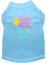 Mirage Pet Products 51-204 BBLSM Chicks Rule Screen Print Dog Shirt Baby Blue Sm