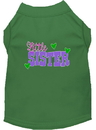 Mirage Pet Products 51-215 GRMD Little Sister Screen Print Dog Shirt Green Med