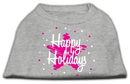 Mirage Pet Products 51-25-14 LGGY Scribble Happy Holidays Screenprint Shirts Grey L