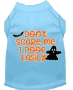 Mirage Pet Products 51-427 BBLMD Don't Scare Me, Poops Easily Screen Print Dog Shirt Baby Blue Med