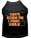 Mirage Pet Products 51-427 BKMD Don't Scare Me, Poops Easily Screen Print Dog Shirt Black Med