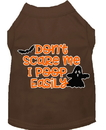 Mirage Pet Products 51-427 BRMD Don't Scare Me, Poops Easily Screen Print Dog Shirt Brown Med