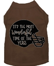 Mirage Pet Products 51-432 BRXS Most Wonderful Time of the Year (Football) Screen Print Dog Shirt Brown XS