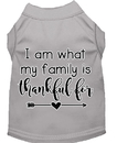 Mirage Pet Products 51-435 GYXXL I Am What My Family is Thankful For Screen Print Dog Shirt Grey XXL