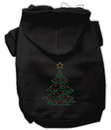 Mirage Pet Products 54-25-05 SMBK Christmas Tree Rhinestone Hoodie Black S