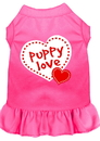 Mirage Pet Products 58-14 MDBPK Puppy Love Screen Print Dress Bright Pink Med