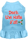Mirage Pet Products 58-409 BBLSM Deck the Halls Y'all Screen Print Dog Dress Baby Blue Sm
