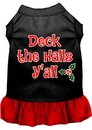 Mirage Pet Products 58-409 BKRDMD Deck the Halls Y'all Screen Print Dog Dress Black with Red Med