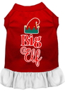 Mirage Pet Products 58-411 RDWTMD Big Elf Screen Print Dog Dress Red with White Med